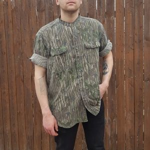 Distressed Vintage Banded Collar Camo Shirt